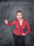Angry screaming teacher with whip Stock Image