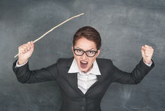 Angry screaming teacher stock image