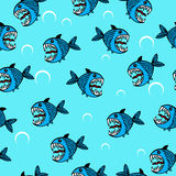 Angry sea fish seamless pattern. Light watercolor fishes. Seamlessly tiling fish pattern Royalty Free Stock Images