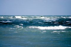 Angry Seas. Rough waves of the Atlantic ocean during windstorm Stock Photo