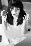 Angry secretary screaming in office black and white portrait Stock Photos