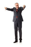 Angry senior business man with thumbs down. Isolated on white background stock photo