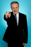 Angry senior businessman pointing finger at you Stock Photography