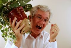 Angry Senior with Fist. Mad Man with Potted Plant Stock Image