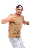 Angry senior man fighter Stock Image