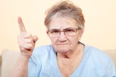 Angry senior woman Royalty Free Stock Photos