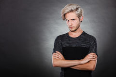 Angry serious young man, negative emotion Royalty Free Stock Photography