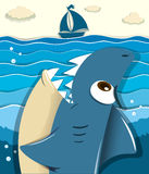 Angry shark aiming for sailboat Stock Image