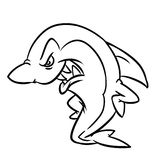 Angry shark contour illustration Royalty Free Stock Photos