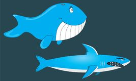 Angry Shark and Happy Whale. Angry shark and a happy whale character illustrations designed as 2D game assets Stock Photography