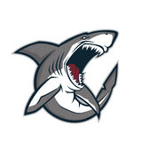 Angry shark mascot. Clipart picture of an angry shark cartoon mascot character Stock Illustration