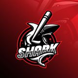 Angry shark mascot logo design vector with modern illustration concept style for badge, emblem and tshirt printing. angry shark royalty free illustration