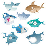 Angry sharks. Collection of cartoon colored crazy angry sharks Royalty Free Stock Image