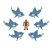 Angry sharks surrounded man in old diving suit. Fear, hopeless s. Ituation. Farted with fear go bubbles. Vector illustration business allegory Stock Photography