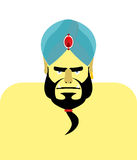 Angry Sheikh turban.  Emir with beard. Blue turban is decorated Stock Photos