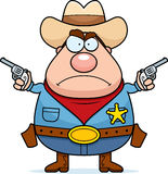 Angry Sheriff. A cartoon sheriff looking angry with guns drawn Stock Photos