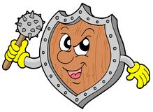 Angry shield warrior Stock Image