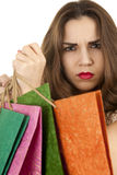 Angry shopping woman Stock Images