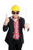Angry shouting  Asian engineer man with finger raised Stock Photography