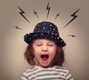 Angry shouting kid with lightnings above Stock Photos