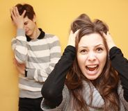 Angry siblings Royalty Free Stock Images