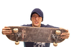 Angry skater. A skater who would like to breack his board in two parts Royalty Free Stock Image