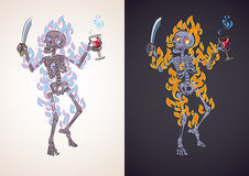 Angry skeleton in fire. Flaming angry skeleton armed with a knife holds a glass of blood. Vector cartoon character fit for tattoo or t-shirt design Stock Image
