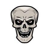 Angry skull. Monster, dead, zombie, halloween, devil symbol. Cartoon vector illustration Royalty Free Stock Photos