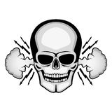 Angry skull with smoke from the ears. Angry skull with smoke from the ears on a white background Royalty Free Stock Images