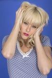 Angry Sleepy Young Woman Insomnia Stock Image