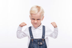 Angry small boy is ready to fight Stock Photography