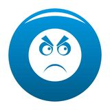 Angry smile icon blue. Circle isolated on white background Stock Photo