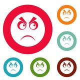 Angry smile icons circle set vector. Isolated on white background Royalty Free Stock Images