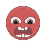 Angry smiley. Angry and aggressive smiley red color on a white background Royalty Free Stock Image