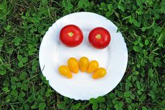 Angry smiley of fresh tomatoes on a plate. stock photo