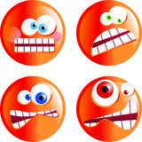 Angry smilies. Set of funny cartoon angy smilie emoticons Royalty Free Stock Image