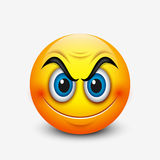 Angry smiling emoticon, emoji - vector illustration Stock Photos