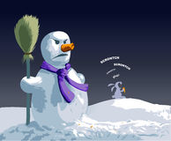 Angry Snowman. A hungry rabbit just bited poor snowman's carrot nose Stock Images