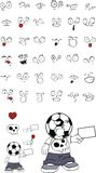Angry Soccer kid cartoon expressions set Royalty Free Stock Photos