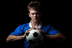Angry soccer player Royalty Free Stock Photo