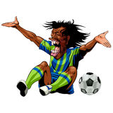 Angry soccer player after foul. Cartoon illustration of angry black footballer sat on ground next to soccer ball after foul, white studio background Stock Images