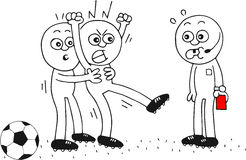 Angry Soccer Player. Hand-drawn cartoon referee with a red card and soccer player placating his angry teammate Royalty Free Stock Images