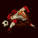 Angry soccer player. Illustration of angry soccer player on black background royalty free illustration