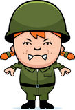 Angry Soldier Girl. A cartoon illustration of an army soldier girl looking angry Royalty Free Stock Images
