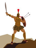 Angry spartan warrior with armor and hoplite shield holding a sw Royalty Free Stock Images