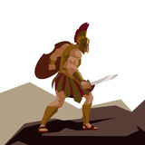Angry spartan warrior with armor and hoplite shield holding a sw Stock Images