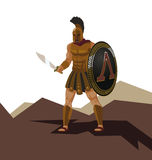 Angry spartan warrior with armor and hoplite shield holding a sw Stock Photography