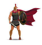 Angry spartan warrior with armor and hoplite shield Royalty Free Stock Images