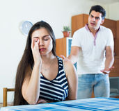 Angry spouses having domestic argue Royalty Free Stock Image