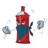 Angry spray can in a mask. Cartoon angry red spray can in a mask threatens fists. Vector illustration Royalty Free Stock Photography